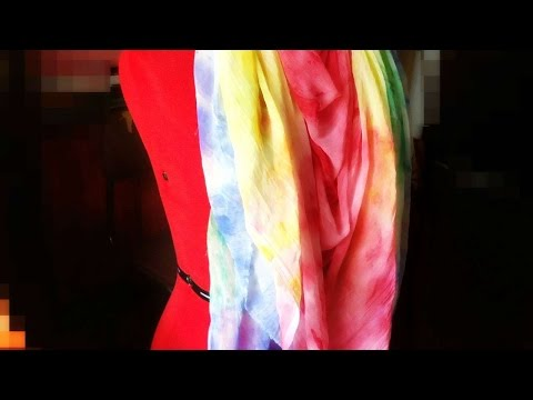 How To Tie Dye A Rainbow Colored Scarf - DIY Style Tutorial - Guidecentral