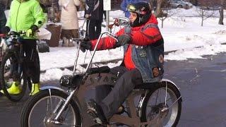 Второй зимний велопарад прошел в Москве при экстремально низкой температуре