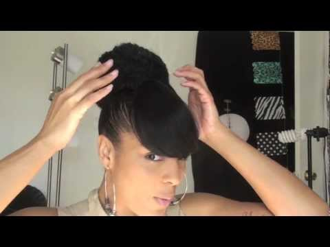 Hair: Natural Ponytail High Bun and Bang