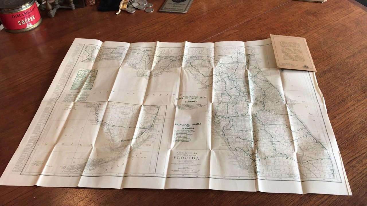 Rand Mcnally Map Of Florida.Florida 1925 Folding Pocket Map Rand Mcnally W Ads Color Litho