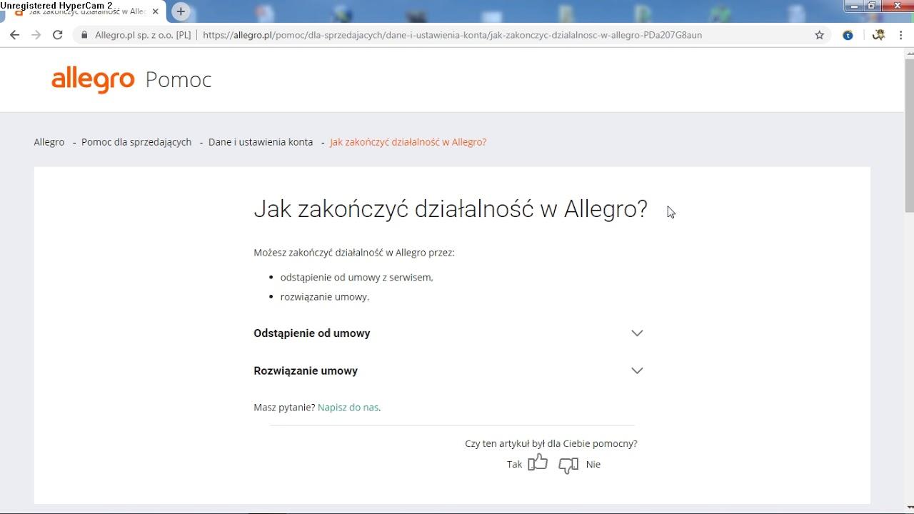 Jak Trwale Usunac Konto Z Portalu Allegro Pl Youtube