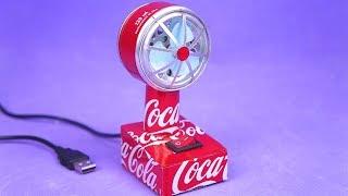 Increíble Mini Ventilador USB hecho con motor y latas de refresco