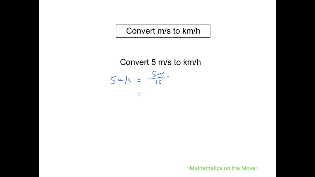 km/s to m/s conversion