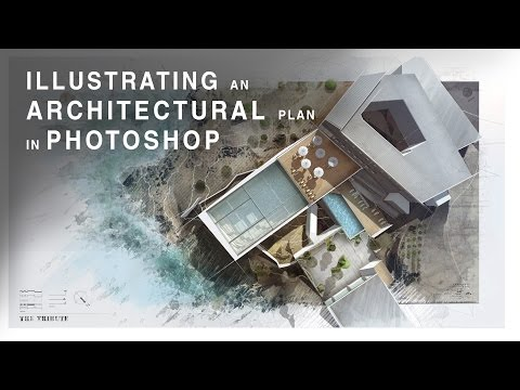 Illustrating an Architectural Plan in Photoshop - Narrated Full Tutorial - Realtime