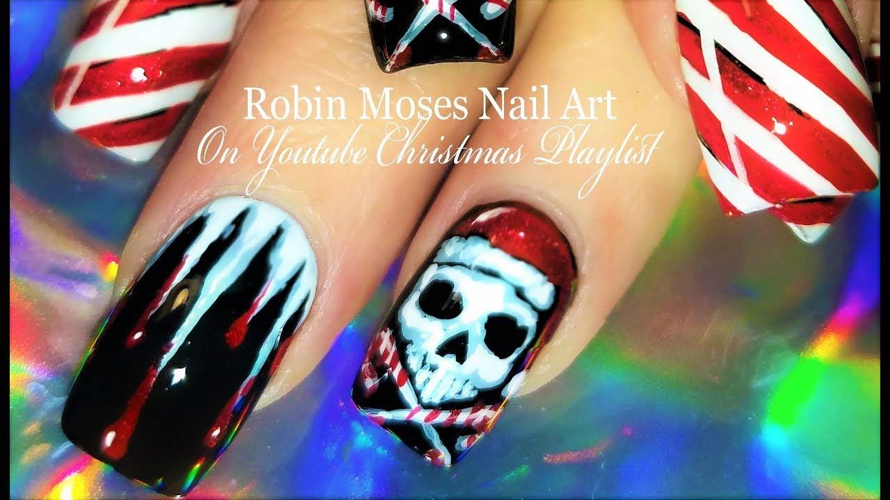 Crazy Christmas Nails Candy Santa Skulls Xmas Nail Art
