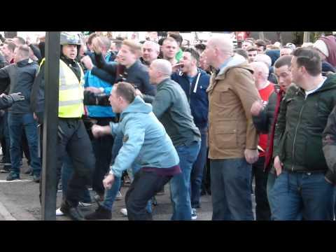 Sunderland fans leaving St James Park Newcastle 2014