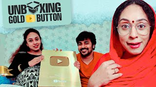 Unboxing Gold Play Button | Pearle Maaney | Srinish Aravind | 1million Subscribers