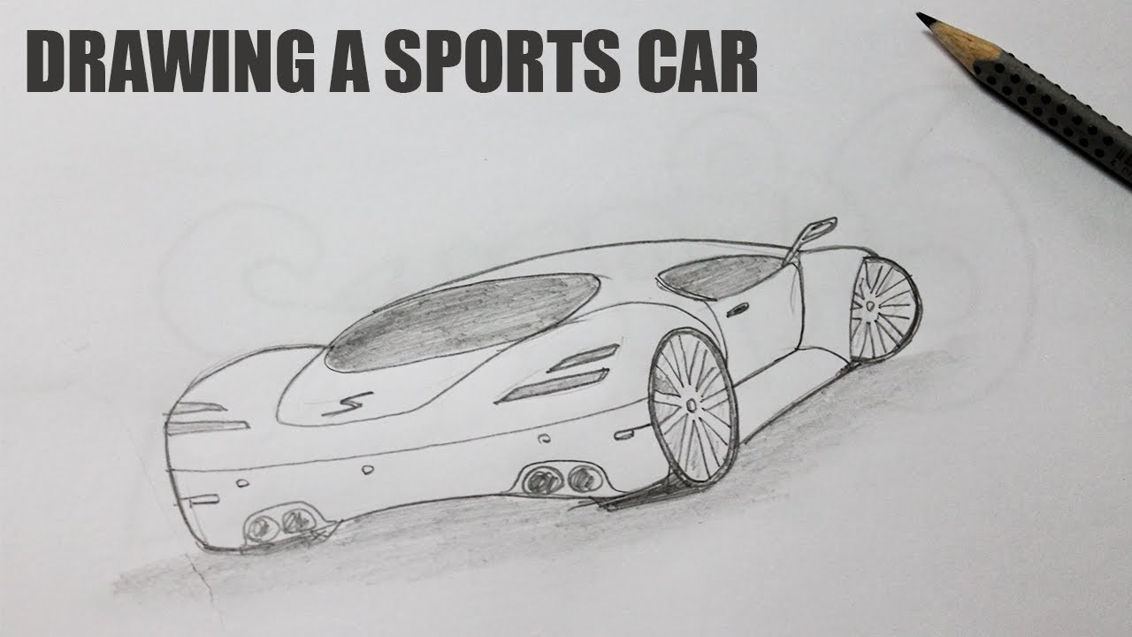 How To Draw A Sports Car Easy Best Car Drawing Youtube