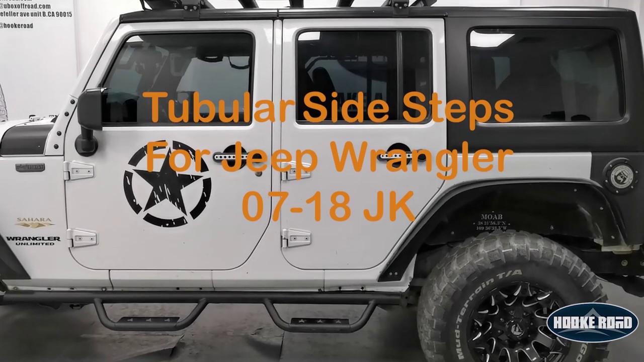 Hooke Road Jeep JK Side Steps Textured Steel Nerf Bars Running Boards for 2007-2018 Jeep Wrangler JK Unlimited 4-Door