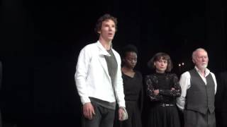 Benedict Cumberbatch giving a speech for refugees from Syria after Hamlet