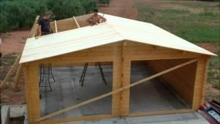 Blokhutwereld - Opbouw van de Houten garage Zuid-Holland 6x6 45mm