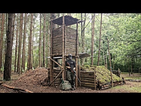 Bushcraft Camp Update 11 - Hunting Tower, Dog House, Gate And Raised Camp Bed