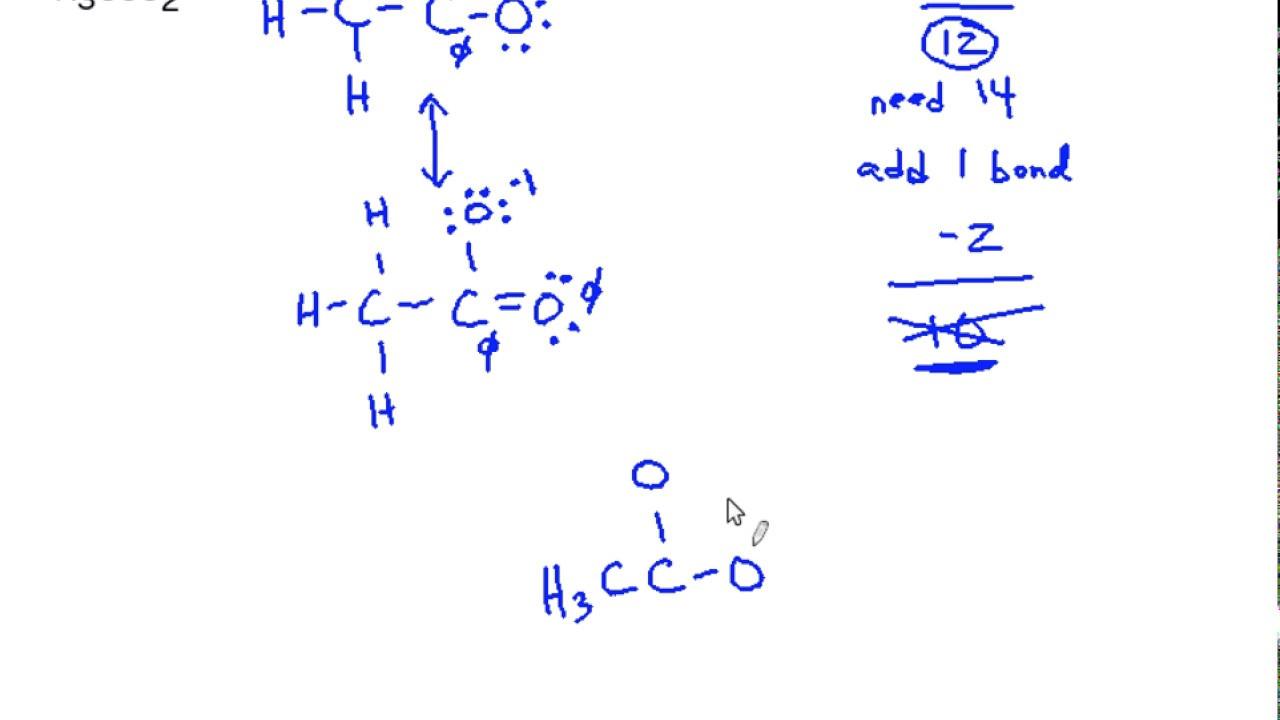 medium resolution of lewis resonance structures b acetate