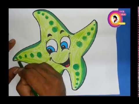 طريقة رسم نجمة البحر موضوع عن قاع البحر تعليم الرسم للمبتدئين Youtube