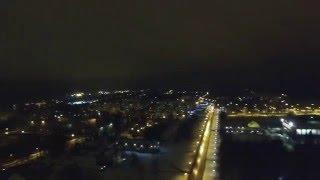 Первый полет на Фантоме. Мой город Хотьково ночью с высоты птичьего полета.