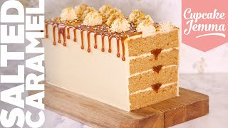 EPIC Salted Caramel Rectangular Loaf Cake! | Recipe & How To | Cupcake Jemma