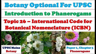 International Code for Botanical Nomenclature II ICBN II Plant Nomenclature II Botany optional Video