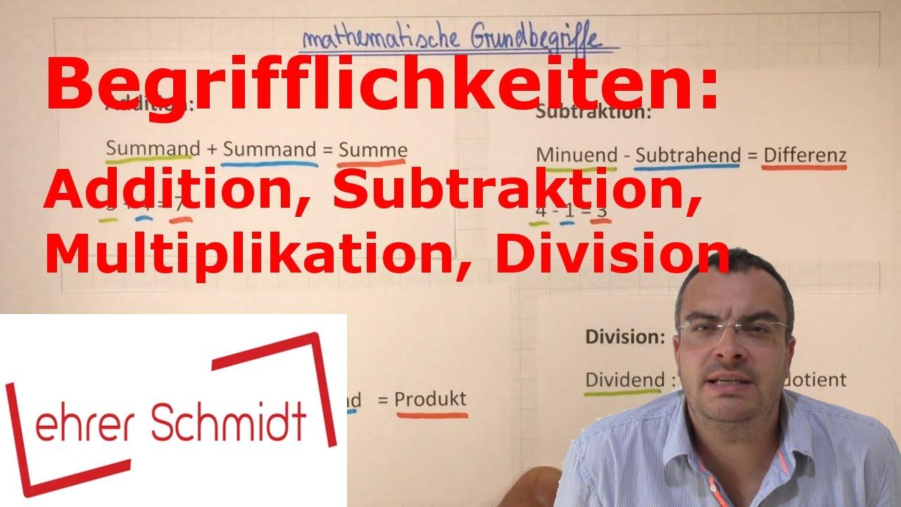 mathematische Begrifflichkeiten | Mathematik | Lehrerschmidt - YouTube