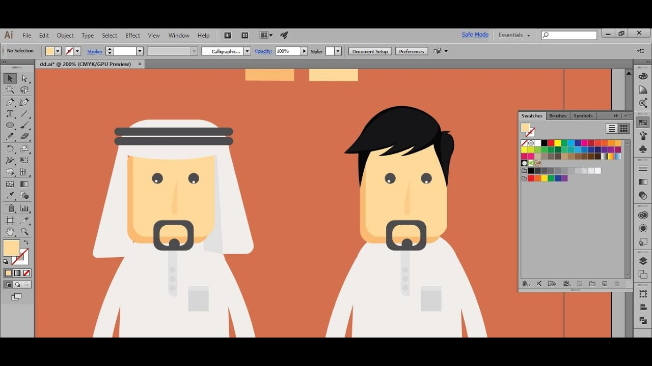 Character Design Tutorial Free : Create cartoon characters arab illustrator tutorial