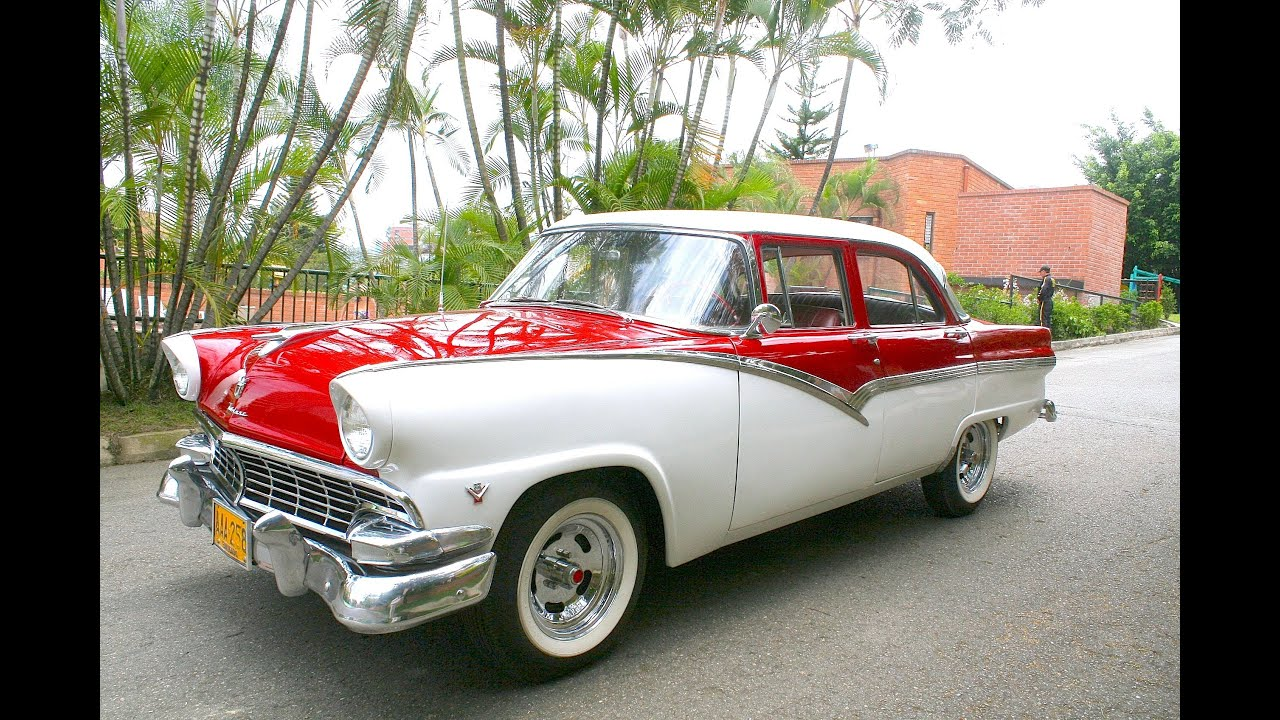 1956 ford fairlane 4 door red and white color. Black Bedroom Furniture Sets. Home Design Ideas