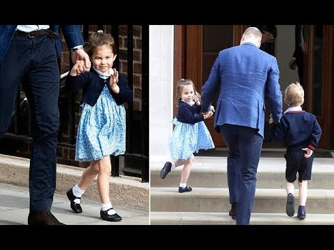 Confident Princess Charlotte waves to the crowds outside the Lindo Wing