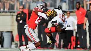 Denzel Ward HUGE HIT on Maryland Wide Reciever. Ohio State vs Maryland (2017)