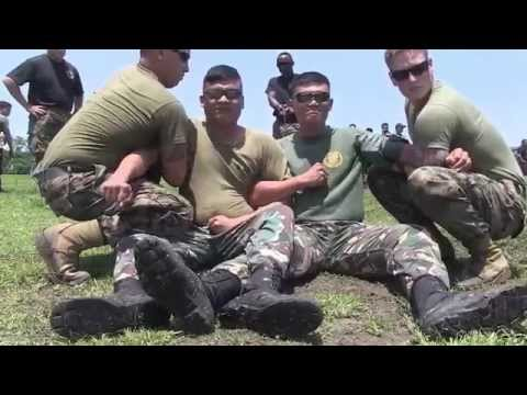 Police and  Philippine Army Together With US Marines Perform Law Enforcement