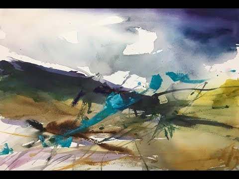Abstract Experiments Watercolor Landscape Painting Abstrakt Eksperimenterne Akvarel Landskab Maleri