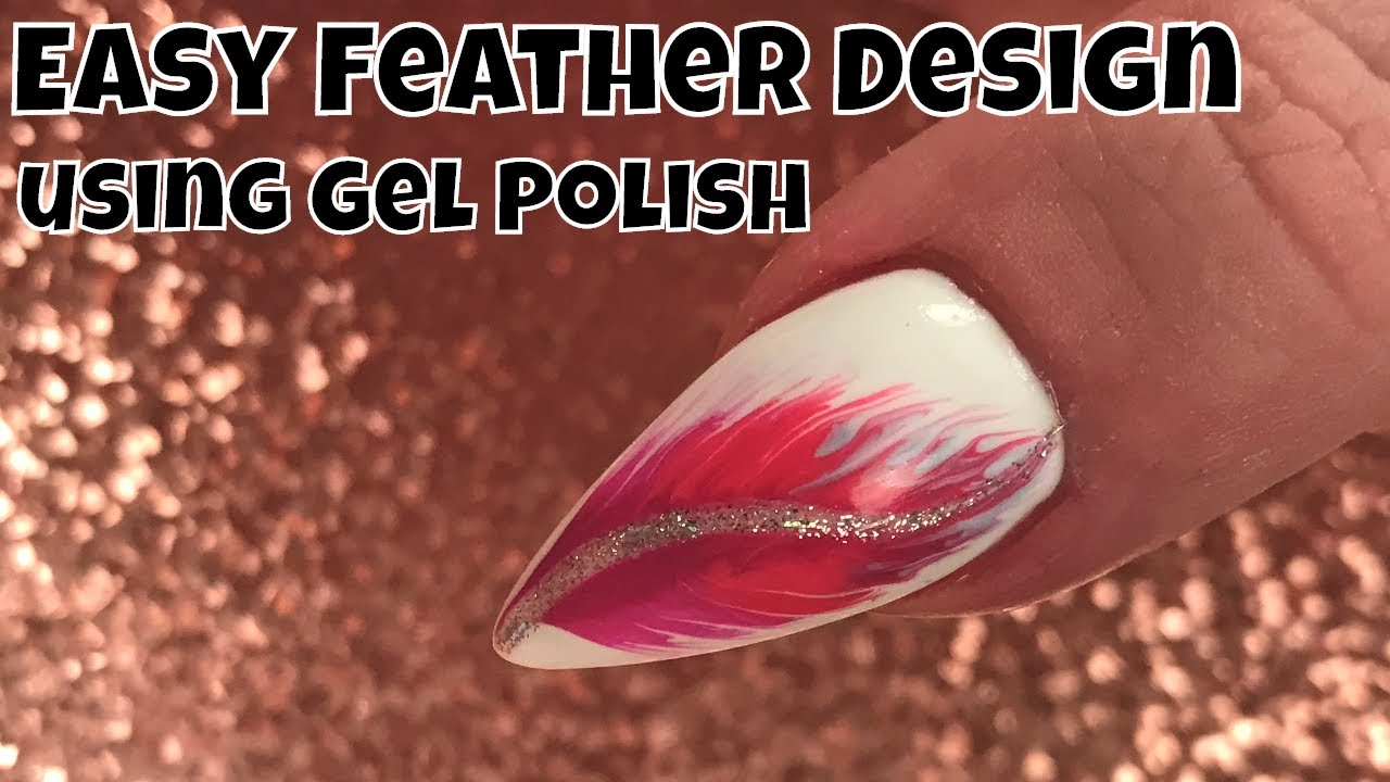 Easy Feather Design Using Gel Polish Youtube