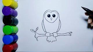 Cara Menggambar Burung Hantu Mudah Pemula | How to draw an owl for beginners