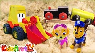 Toy excavator, PAW Patrol & toy train for kids.