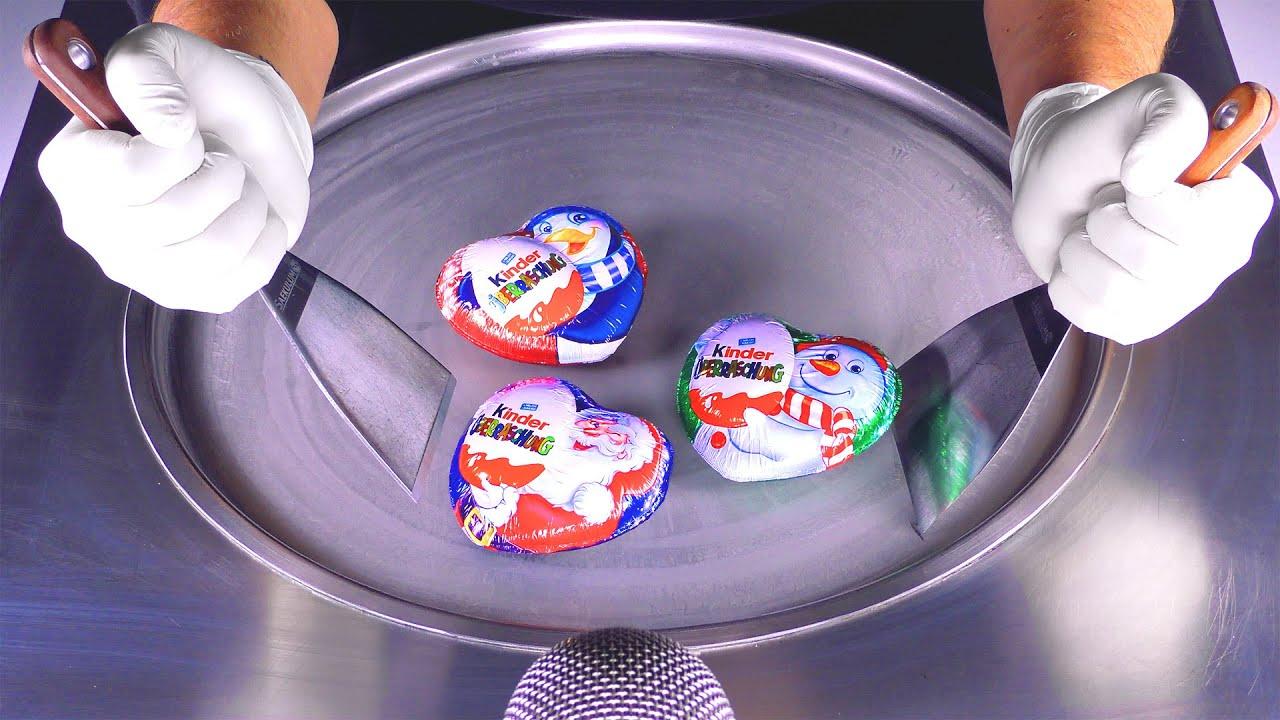 ASMR — Яйцо-сюрприз в рулетах с мороженым    как приготовить шоколад из сладкого рулетика из жареного мороженого