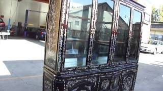 Big Chinese Red Wood Shell Inlay Display Cabinet Wk1931