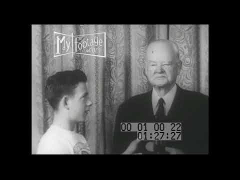 1950s President Herbert Hoover meets Boys Club of America Stock Footage in HD