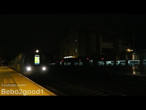 Metro-North Railroad: 4 Harlem Line Trains at Bronxville, NY RR @ Night