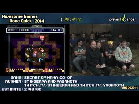Secret of Mana :: SPEED RUN (Co-op) SNES by StingerPA & Yagamoth #AGDQ 2014