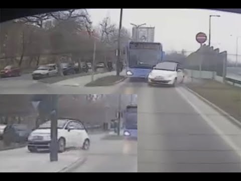 A busz elé vágódott az autós, majd felrepült a járdára. Mindezt fedélzeti kamera rögzítette