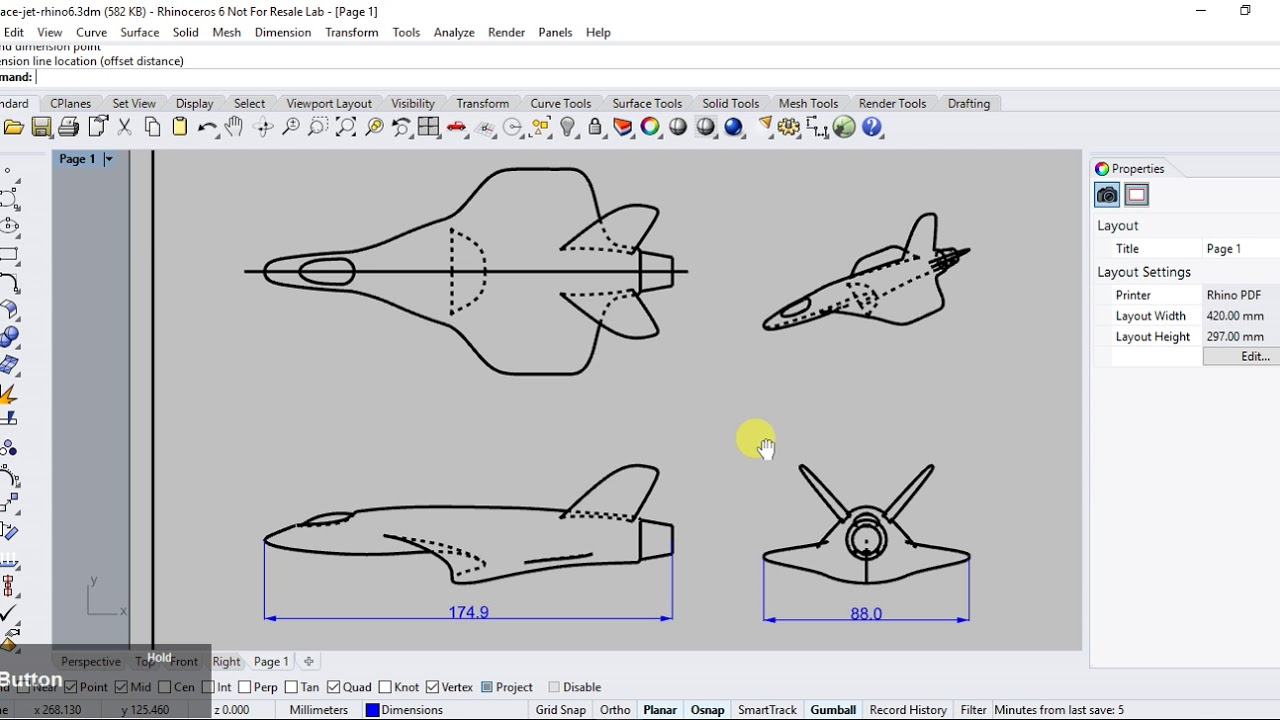 Rhino 6 - Making 2D Drawings from 3D Model