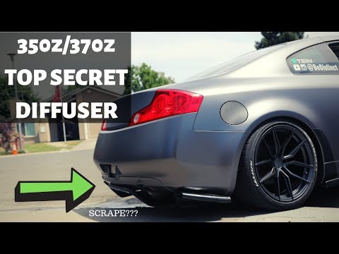 Installing A 350z Top Secret DIFFUSER On My G35 Coupe*** Slips Off Ramp