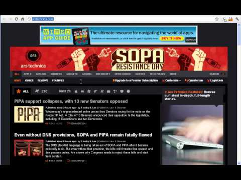 What the SOPA Internet Blackout, looked like on 01/18/2012 before megauploads bust