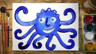 Как нарисовать ОСМИНОГА красками | Простые рисунки красками | Урок рисования для детей
