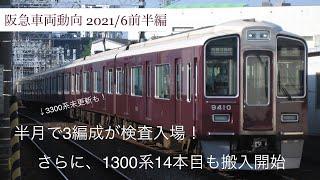 【阪急車両動向】3300系未更新編成がまさかの検査入場! 車両動向まとめ2021年6月前半編