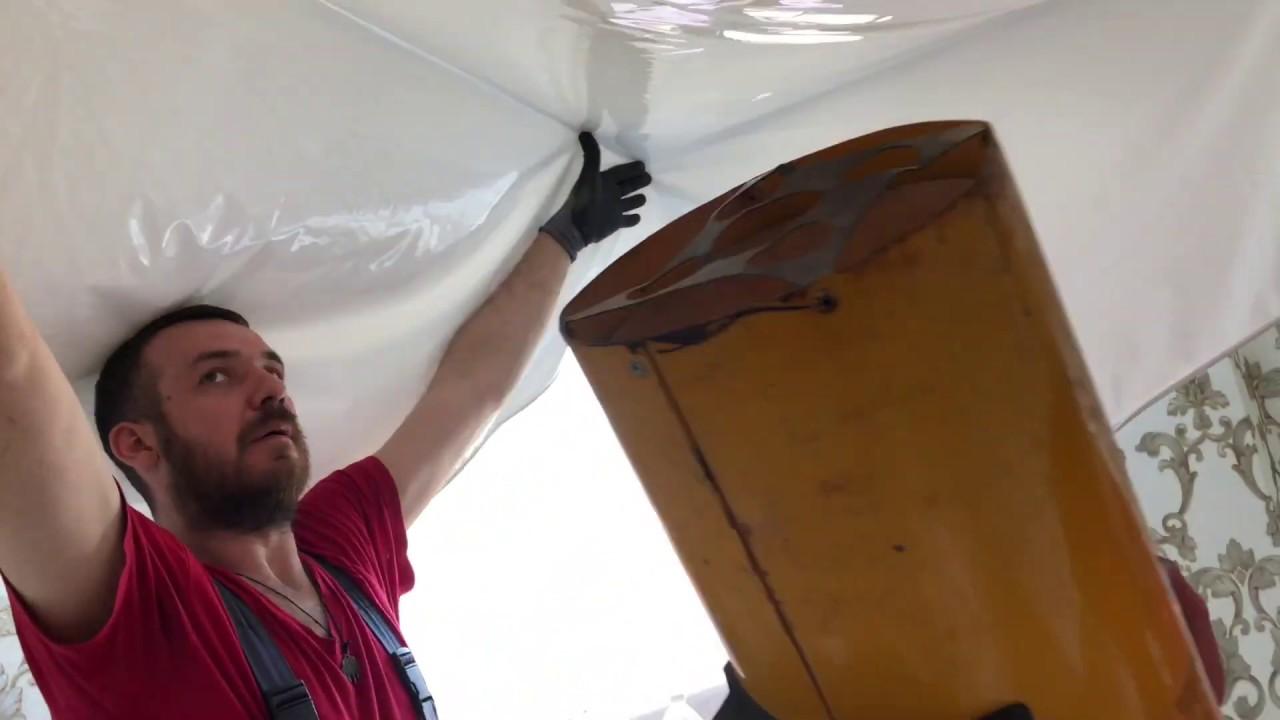 Установка белого глянцевого натяжного потолка в Сочи