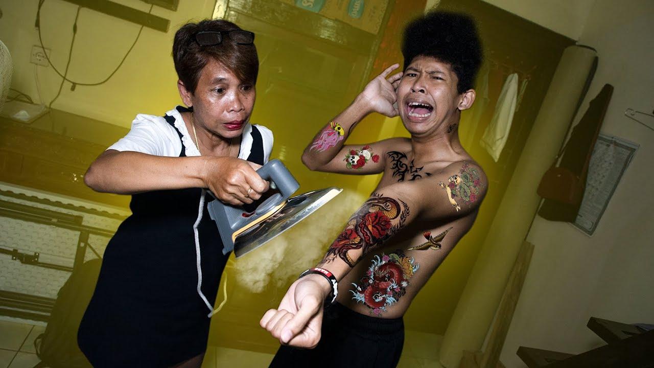 PRANK TATTOO KE MAMAK DISURUH HAPUS PAKE SETRIKA!!
