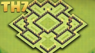 Clash of Clans - Town Hall 7 Best Hybrid Base Ever (TH7 Farming) (The Spaceship) 2016