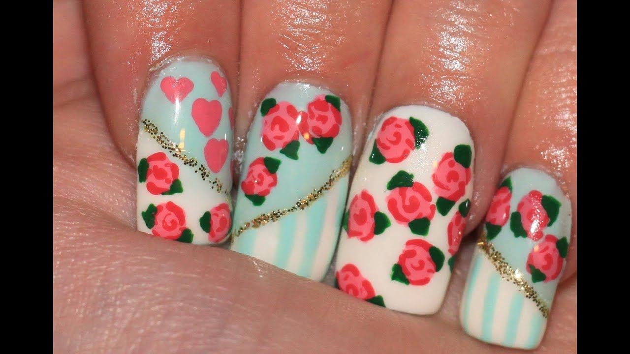 Vintage floral design hand painted roses nail tutorial youtube prinsesfo Image collections