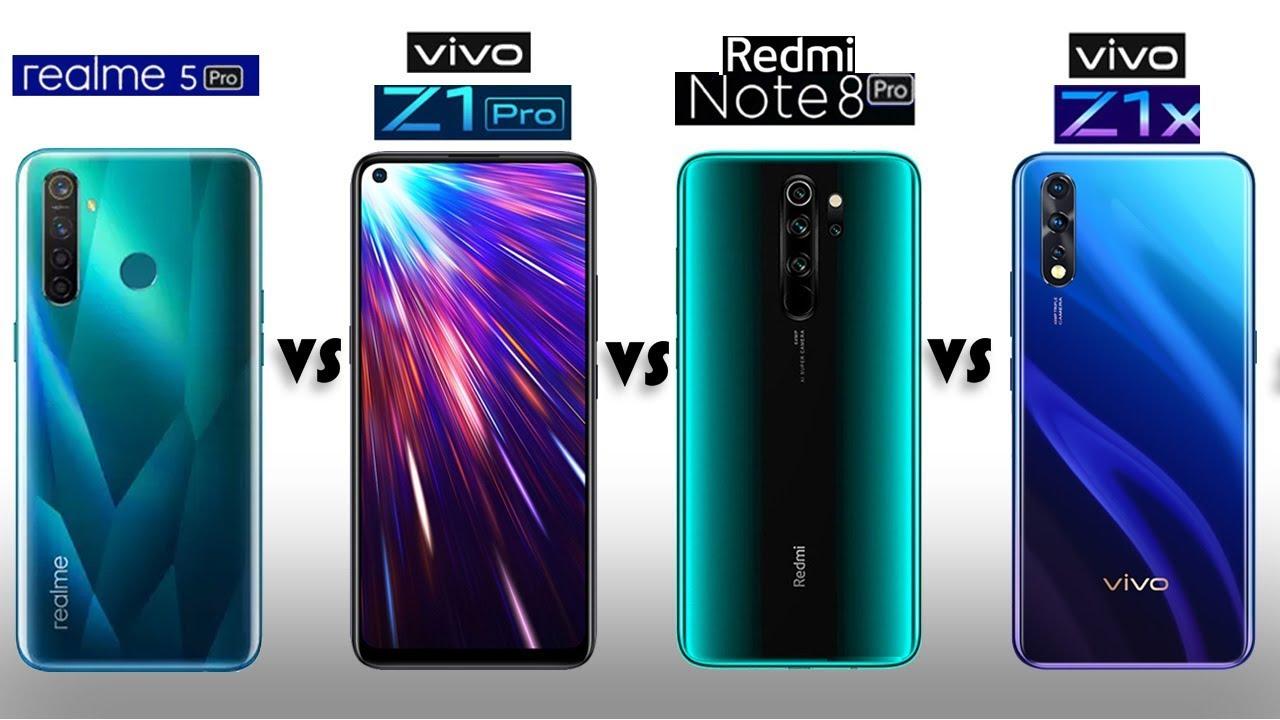 Redmi Note 8 Pro vs Vivo Z1 Pro vs Realme 5 Pro vs Vivo Z1x - YouTube