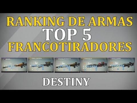 Destiny TOP 5 FRANCOTIRADORES |MEJORES ARMAS DEL JUEGO| COMENTA TU TOP 5