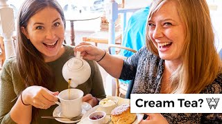 Americans try traditional CREAM TEA in Cotswolds England