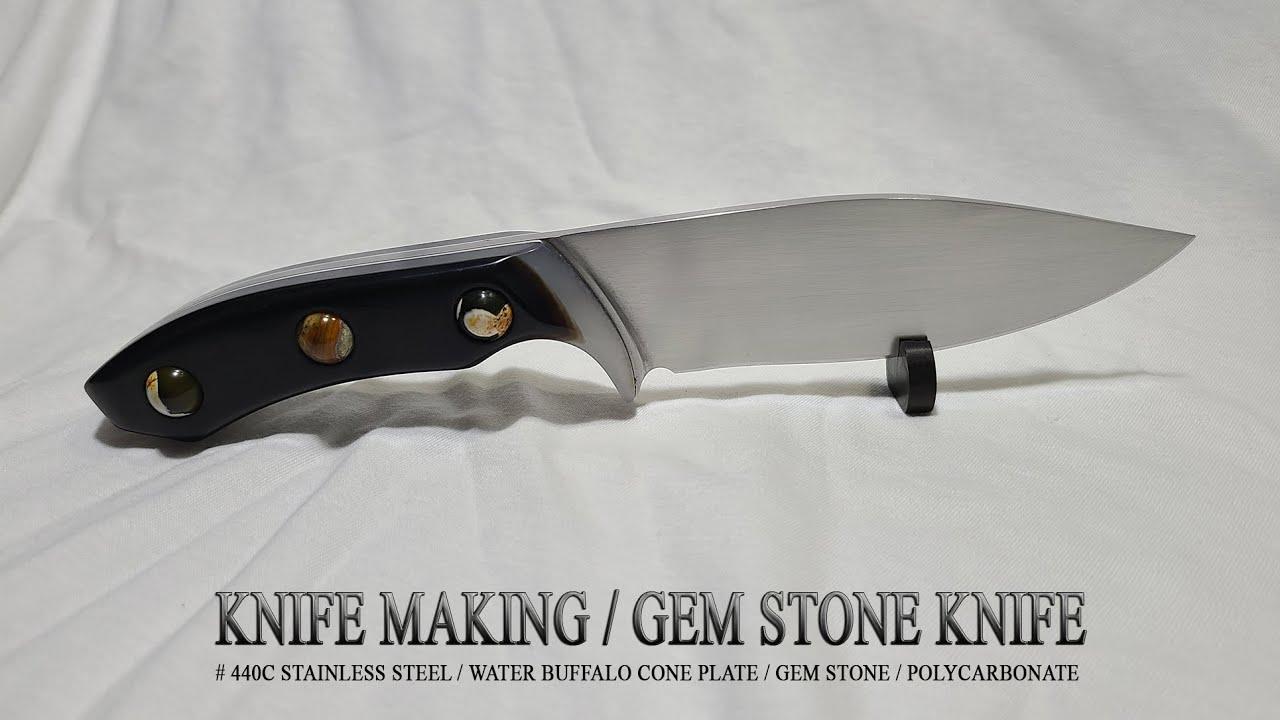 KNIFE MAKING / GEM STONE KNIFE 수제칼 만들기 #98